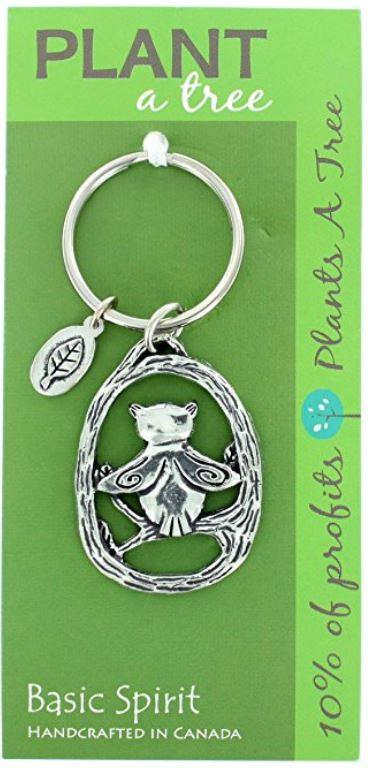 Basic Spirit Pewter Global Giving Plant A Tree Keychain, Owl, Made in Nova Scotia