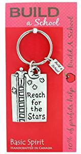 Basic Spirit Pewter Global Giving Build a School Keychain, Reach For The Stars, Made in Nova Scotia