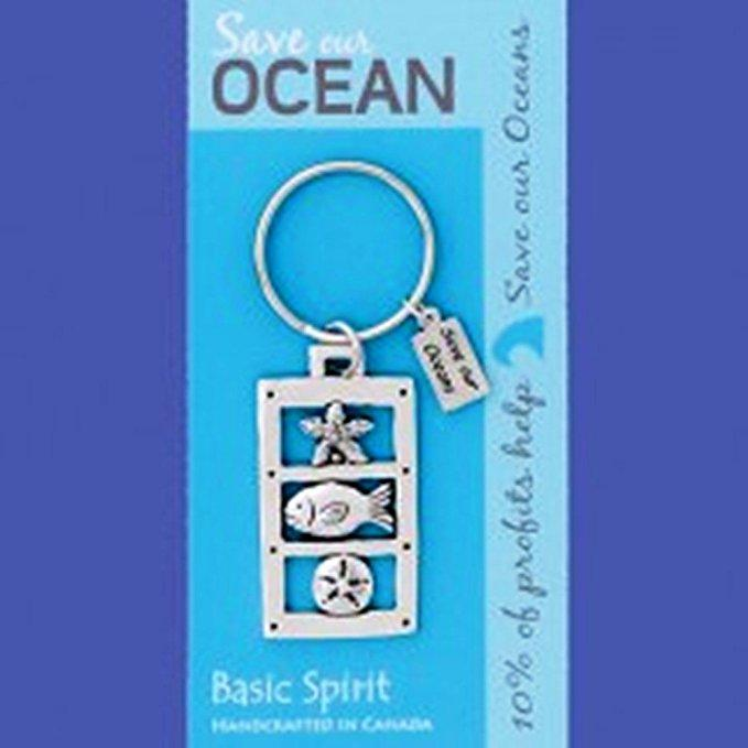 Basic Spirit Global Giving Save Our Oceans Pewter Keychain, Sealife, Made in Nova Scotia