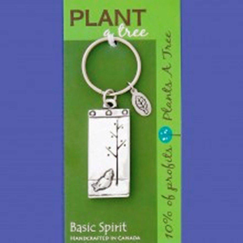 Basic Spirit Pewter Global Giving Plant A Tree Keychain, Rectangle Bird & Tree, Made in Nova Scotia