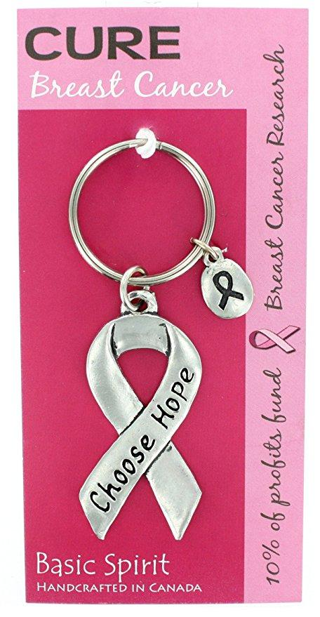 Basic Spirit Pewter Global Giving Cure Breast Cancer Keychain, Choose Hope Ribbon, Made in Nova Scotia