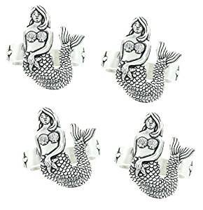 Basic Spirit Pewter Mermaid Napkin Rings Set of 4, Made in Nova Scotia
