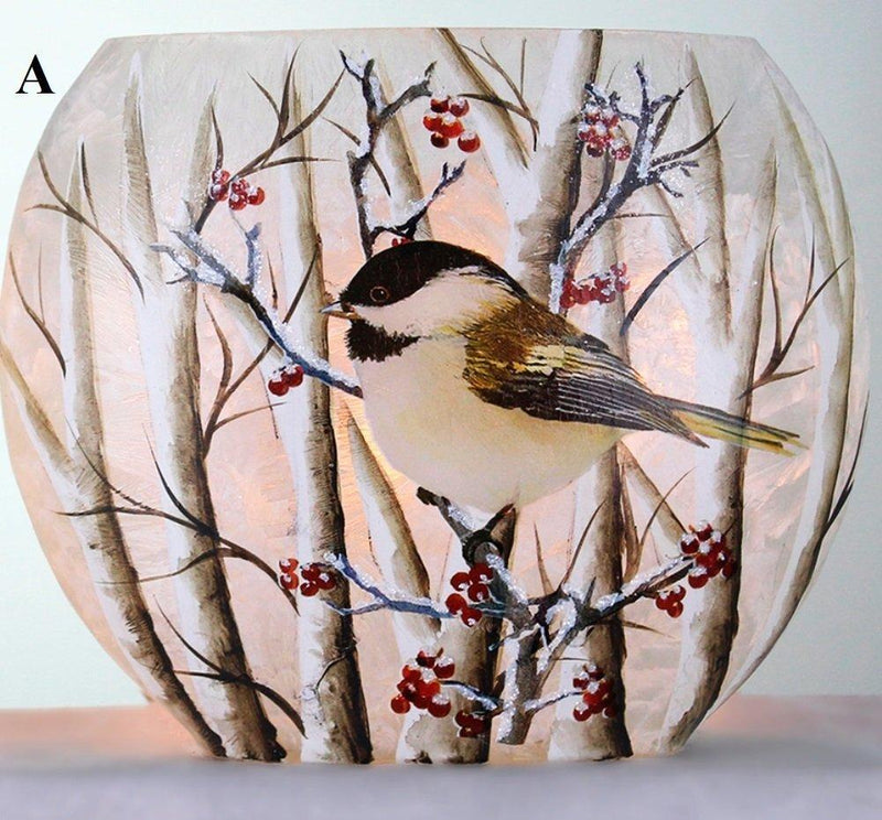 Stony Creek Birch & Chickadees Lighted Oval Glass Vase, Choice of Style