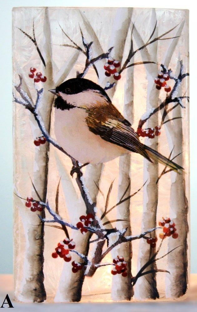 Stony Creek Birch & Chickadees Lighted Rectangle Glass Vase, Choice of Style