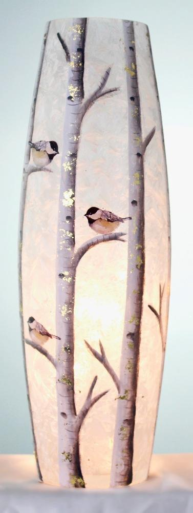 Stony Creek Birch & Friends Lighted Glass Vase, Choice of Style (Chickadees)