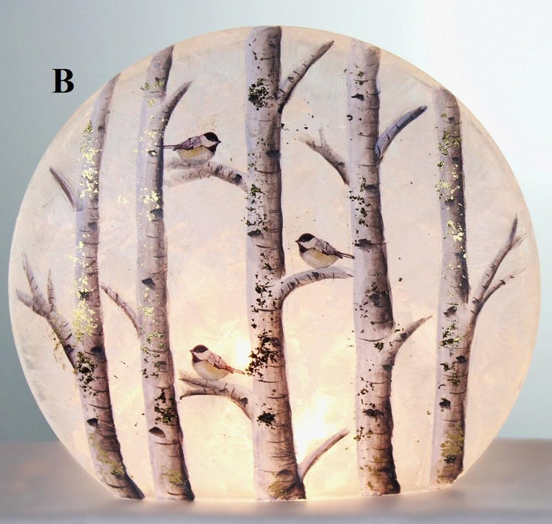 Stony Creek Birch & Friends Giant Lighted Round Glass Vase, Choice of Style (B)