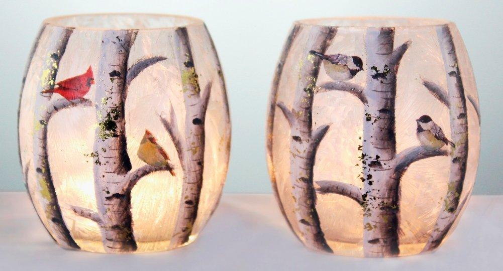Stony Creek Birch & Friends Lighted Glass Jar, Set of 2