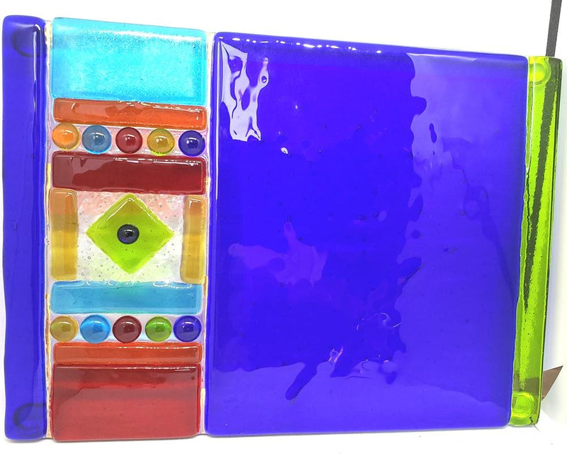 ME2U Carnival Fused Glass Cheese Tray with Spreader, Choice of Color - ME2U