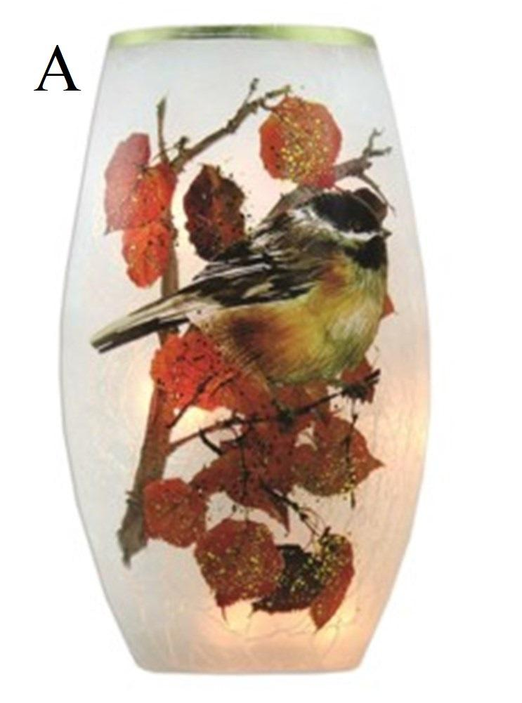 Stony Creek Fall Chickadee Lighted Glass Vase, Choice of Style