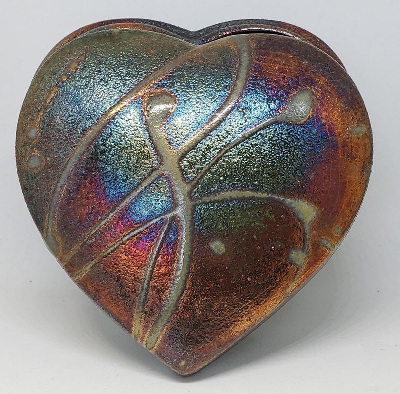 The Clay Cellar Raku Heart Box, Handmade in the USA