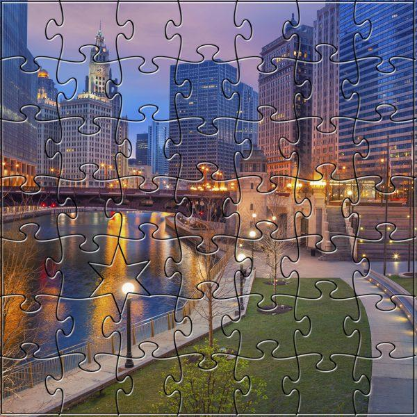 Zen Art & Design Artisanal Wooden Jigsaw Puzzle, Chicago Twilight, Teaser