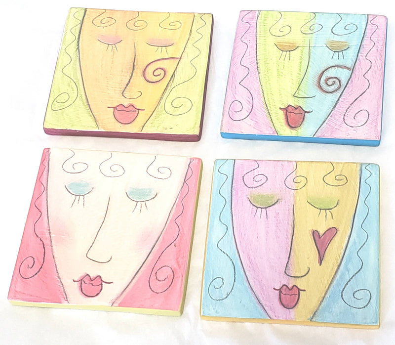 Double Creek Pottery Handcrafted Coasters, Set of 4, Woman's Face