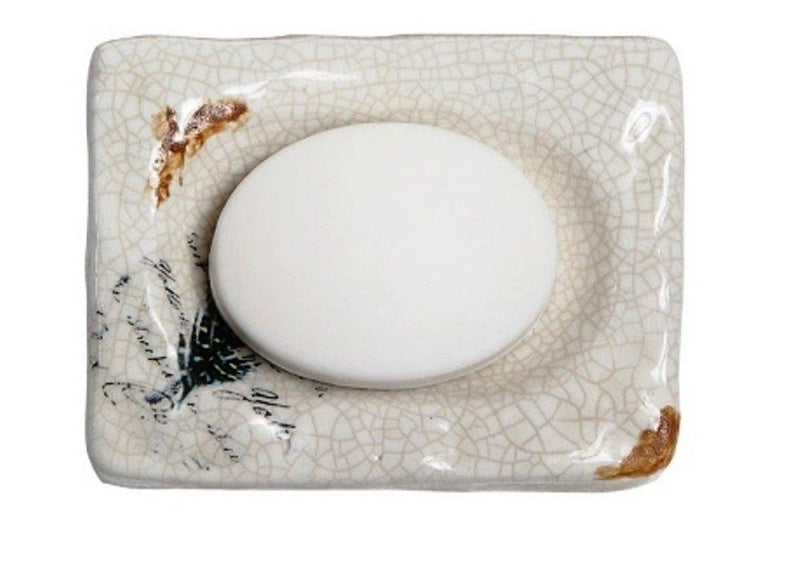 Creative Co-op Soap Dish with Feather and Crackle Finish, Choice of Color