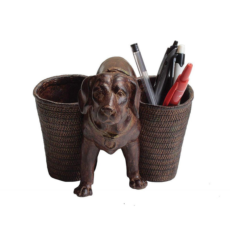 Creative Co-Op Resin Dog Holder with Two Cups