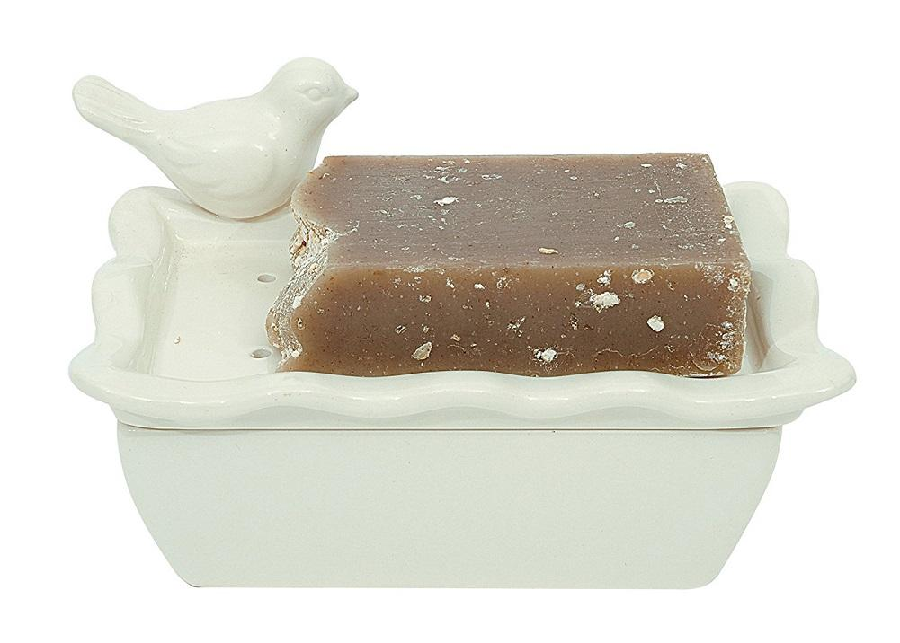 Creative Co-op Shabby Chic Ceramic Soap Dish with Bird
