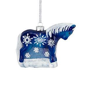 Trail of Painted Ponies from Enesco Snowflake Glass Ornament
