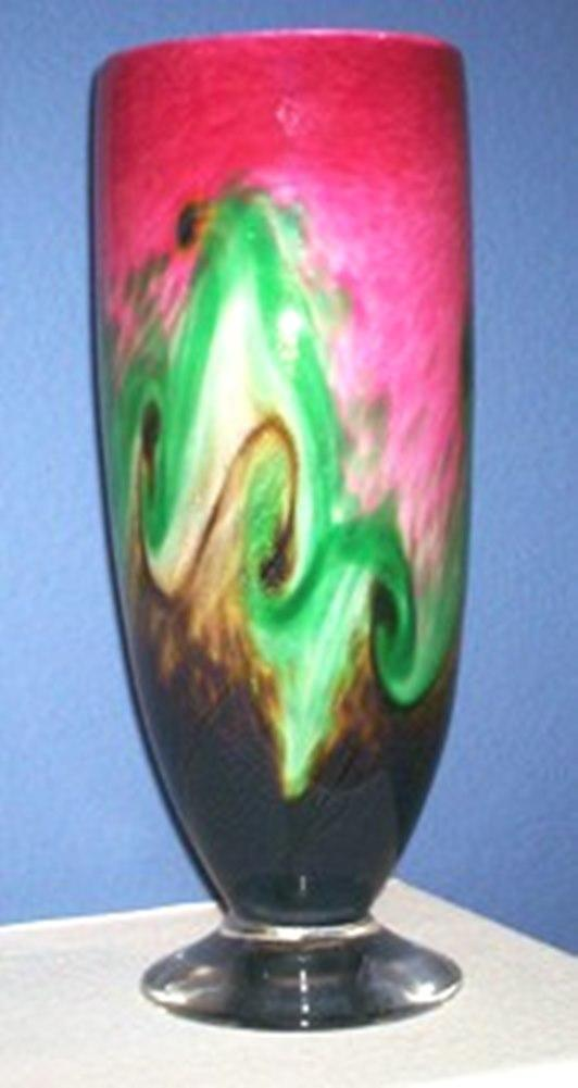Arte Vargas Handcrafted Glass Footed Vase