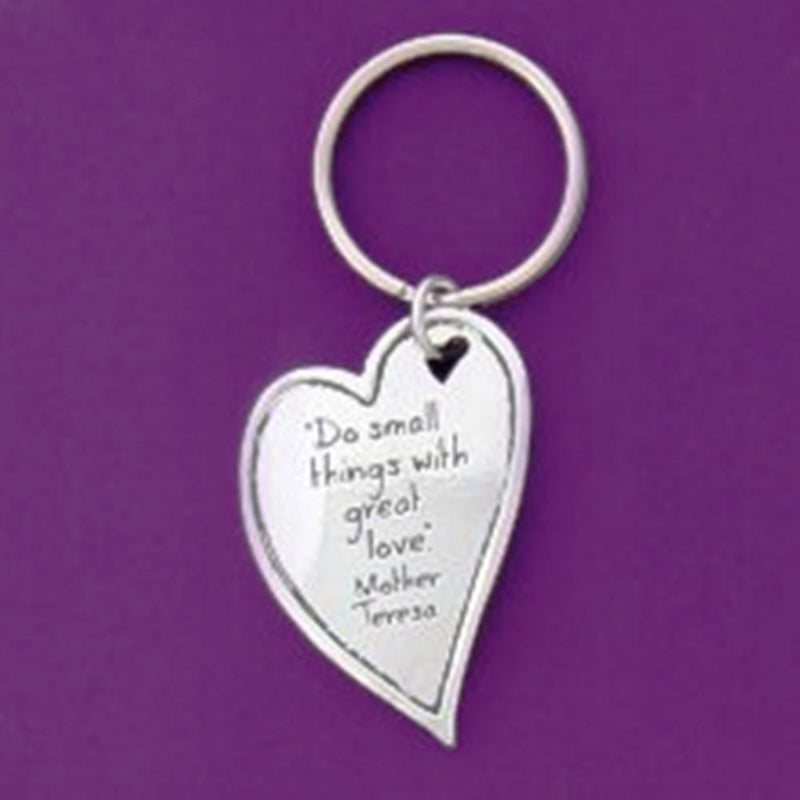 Basic Spirit Inspirational Quote Pewter Keychain, Small Things, Made in Nova Scotia