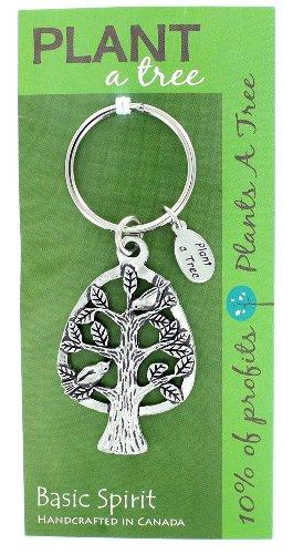 Basic Spirit Pewter Global Giving Plant A Tree Keychain, Tree in Oval, Made in Nova Scotia