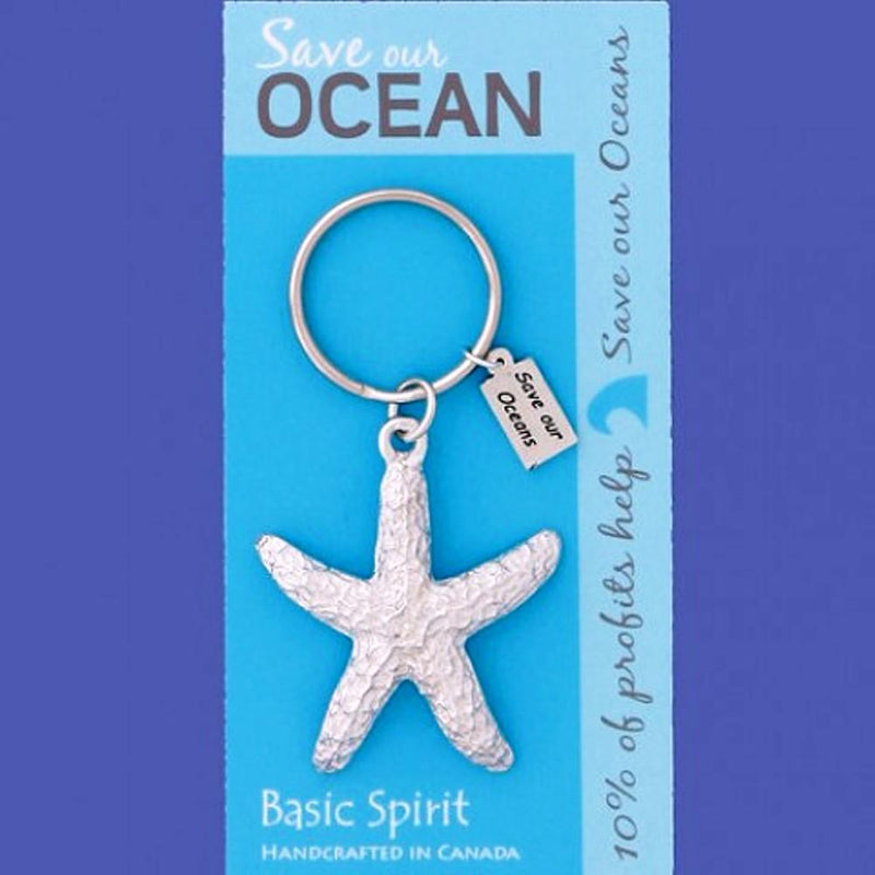 Basic Spirit Global Giving Save Our Oceans Pewter Keychain, Starfish, Made in Nova Scotia