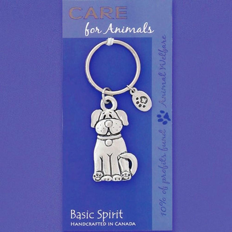 Basic Spirit Global Giving Care for Animals Pewter Keychain, Dog, Made in Nova Scotia