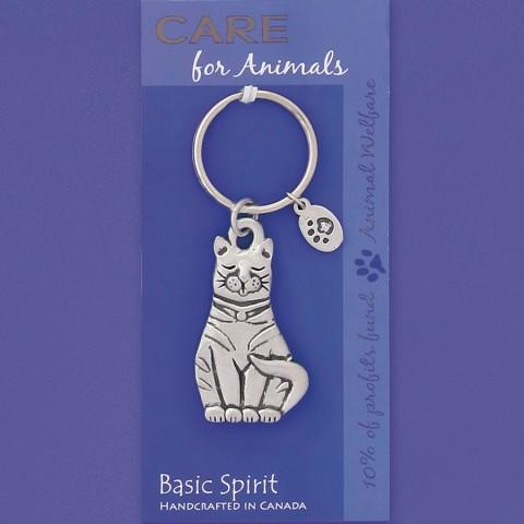 Basic Spirit Global Giving Care for Animals Pewter Keychain, Cat, Made in Nova Scotia - Gifts From A Distance