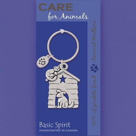 Basic Spirit Global Giving Collection Animal Welfare Doghouse Pewter Keychain, Made in Nova Scotia
