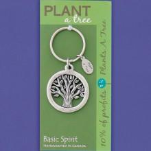 Basic Spirit Pewter Global Giving Plant A Tree Keychain, Tree, Made in Nova Scotia