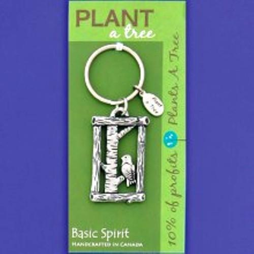 Basic Spirit Pewter Global Giving Plant A Tree Keychain, Bird on a Limb, Made in Nova Scotia