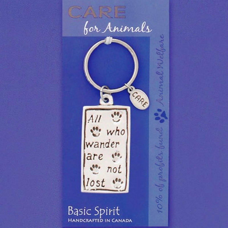 Basic Spirit Global Giving Collection Animal Welfare Wander Pewter Keychain, Made in Nova Scotia