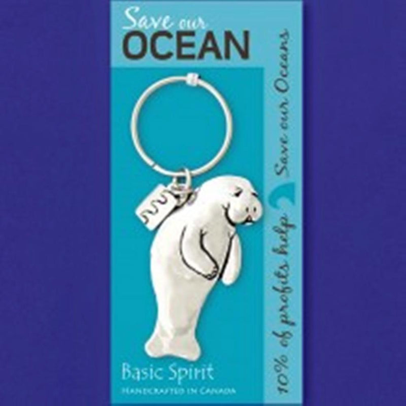 Basic Spirit Global Giving Save Our Oceans Pewter Keychain, Manatee, Made in Nova Scotia