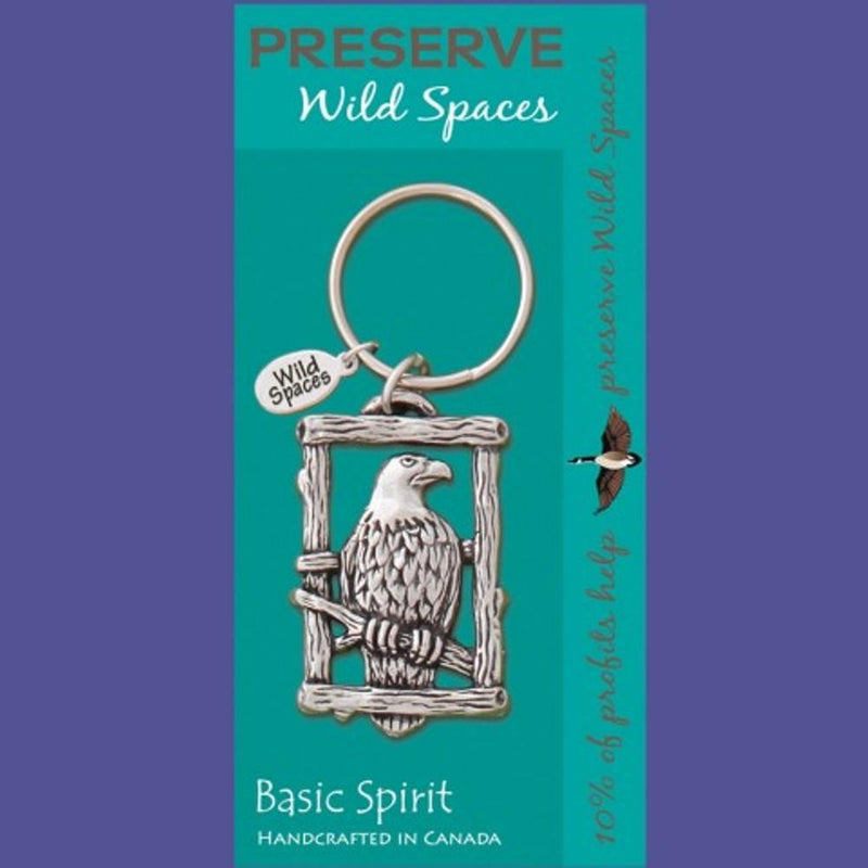 Basic Spirit Global Giving Preserve Wild Spaces Eagle Pewter Keychain, Made in Nova Scotia