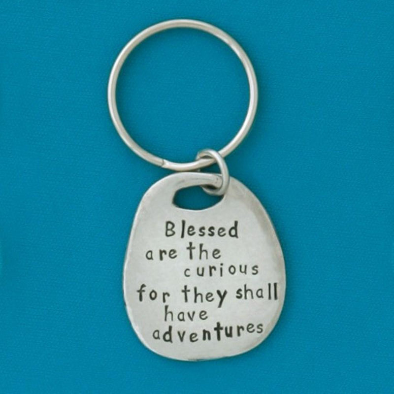 Basic Spirit Inspirational Quote Pewter Keychain, Adventures, Made in Nova Scotia - Gifts From A Distance