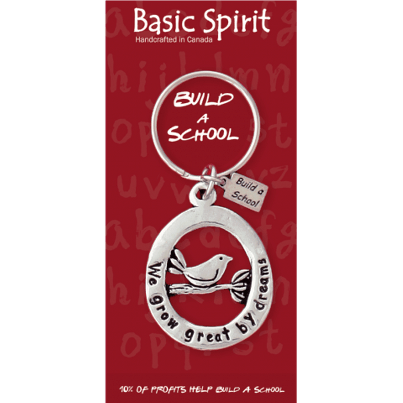 "Basic Spirit Global Giving Collection Build a School ""We Grow"" Bird Pewter Keychain, Made in Nova Scotia"