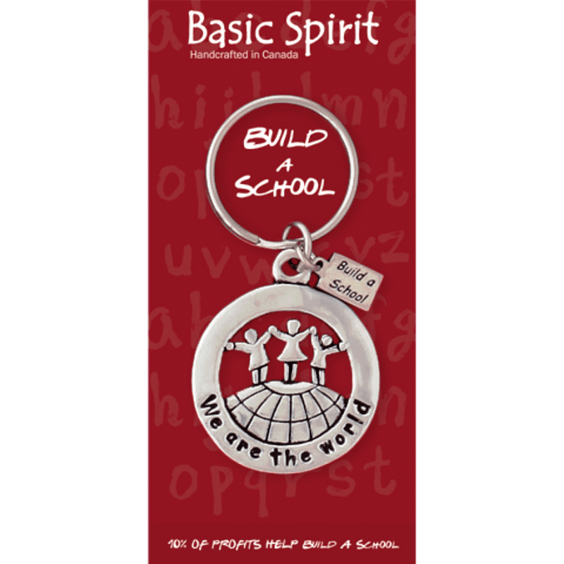 "Basic Spirit Global Giving Collection Build a School ""We Are The World"" Pewter Keychain, Made in Nova Scotia"