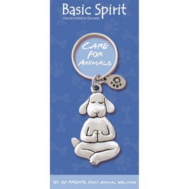 Basic Spirit Global Giving Care for Animals Pewter Keychain, Yoga Dog, Made in Nova Scotia - Gifts From A Distance