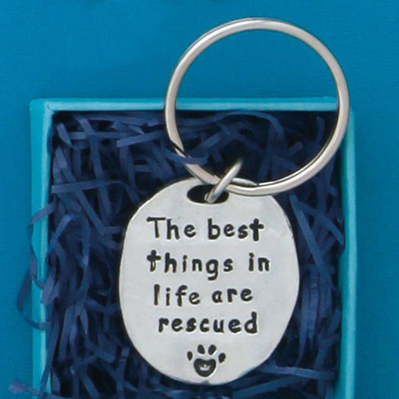 Basic Spirit Inspirational Quote Pewter Keychain, Rescued, Made in Nova Scotia