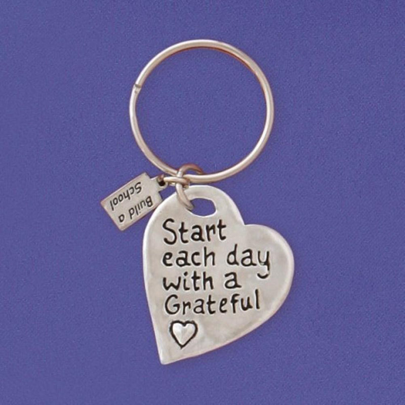 Basic Spirit Global Giving Build A School Inspirational Quote Pewter Keychain, Grateful Heart, Made in Nova Scotia