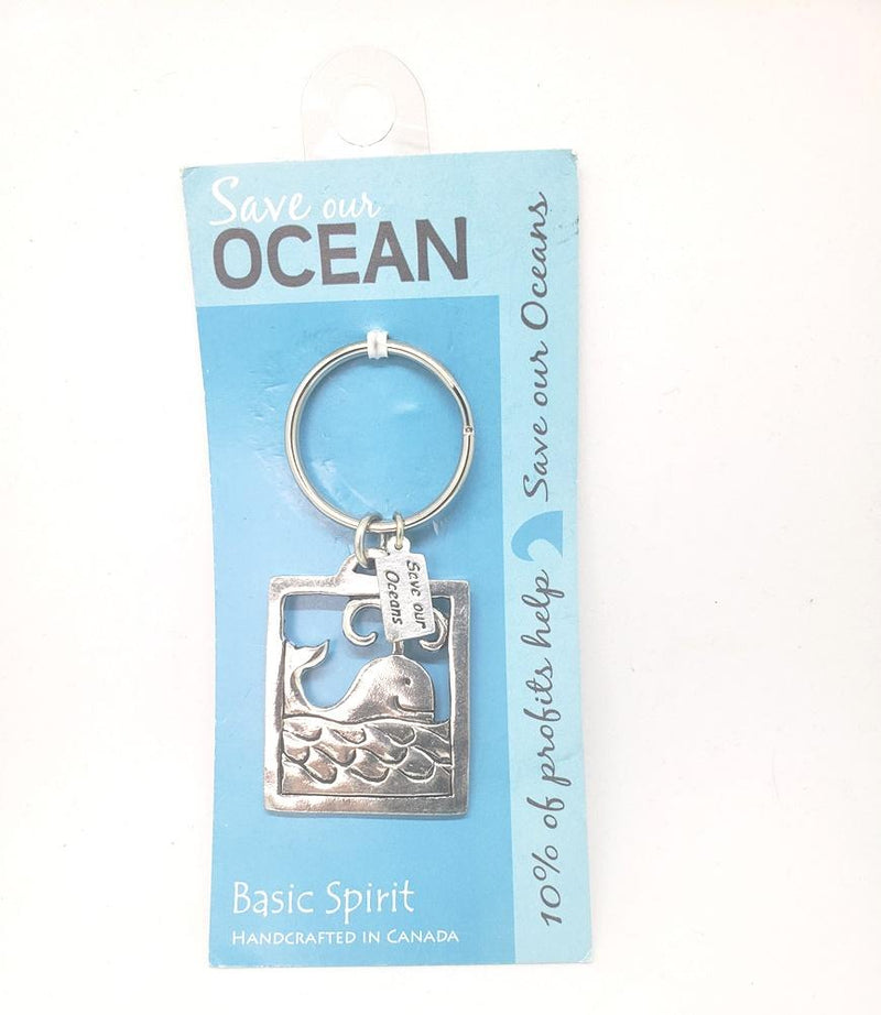 Basic Spirit Global Giving Save Our Oceans Pewter Keychain, Whale, Made in Nova Scotia
