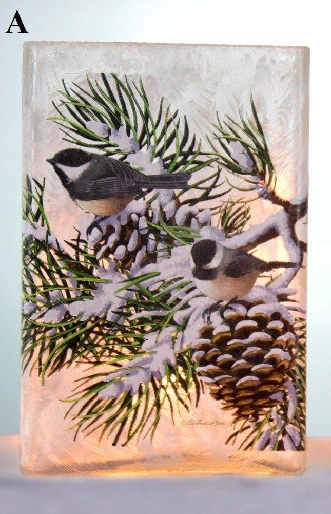 Stony Creek Winter Snow Birds Collection Lighted Rectangle Glass Vase, Choice of Style