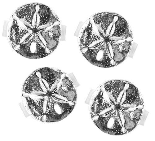 Basic Spirit Pewter Sand Dollar Napkin Rings Set of 4, Made in Nova Scotia - Gifts From A Distance