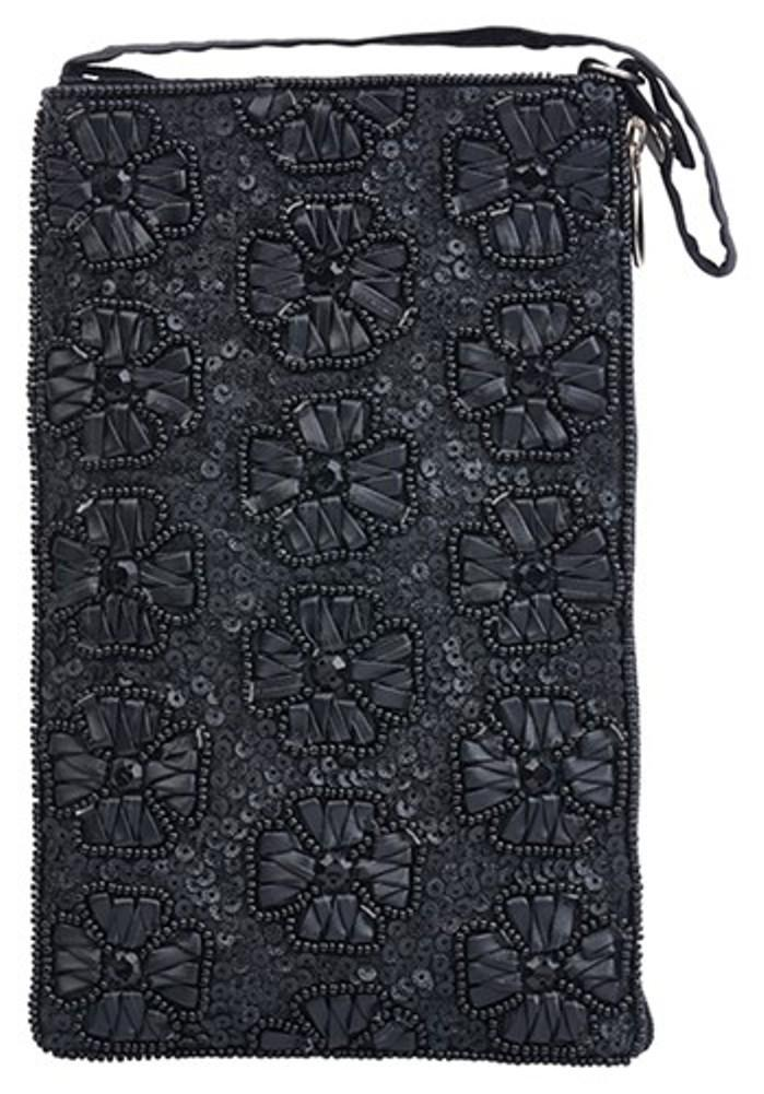 Bamboo Trading Company Cell Phone Club Bag, Black Flowers