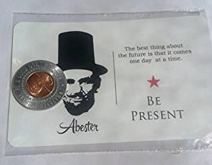 Abe Lincoln Penny Magnet with Postcard Created in the USA by Studio Penny Lane (Be Present)