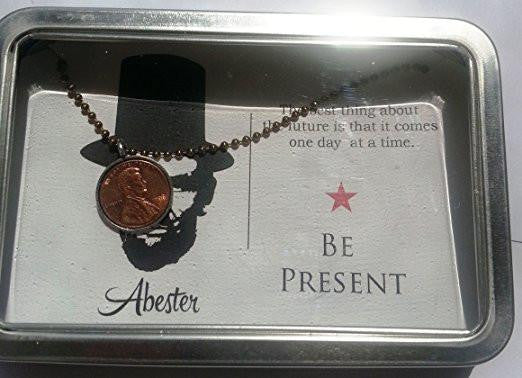 Abe Lincoln Post Card with Penny Necklace, Created in the USA by Studio Penny Lane (Be Present)
