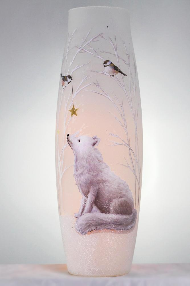 Stony Creek Soft Winter Collection Fox Giant Lighted Glass Vase
