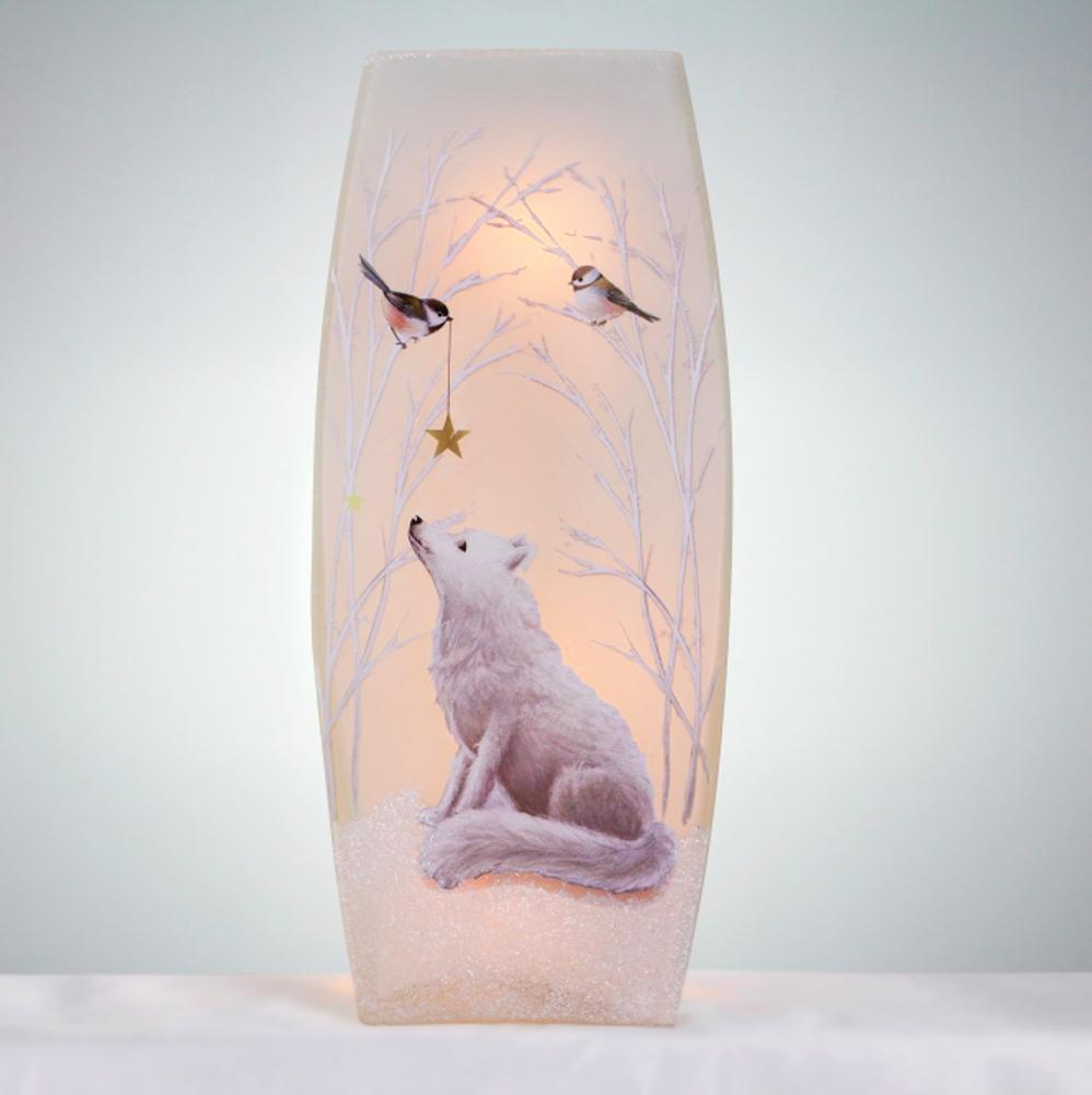 Stony Creek Soft Winter Fox Lighted Glass Vase