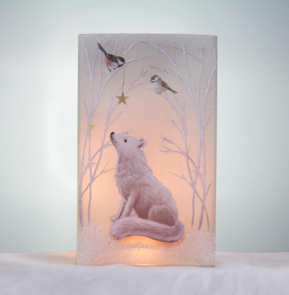 Stony Creek Soft Winter Fox Lighted Rectangle Glass Vase