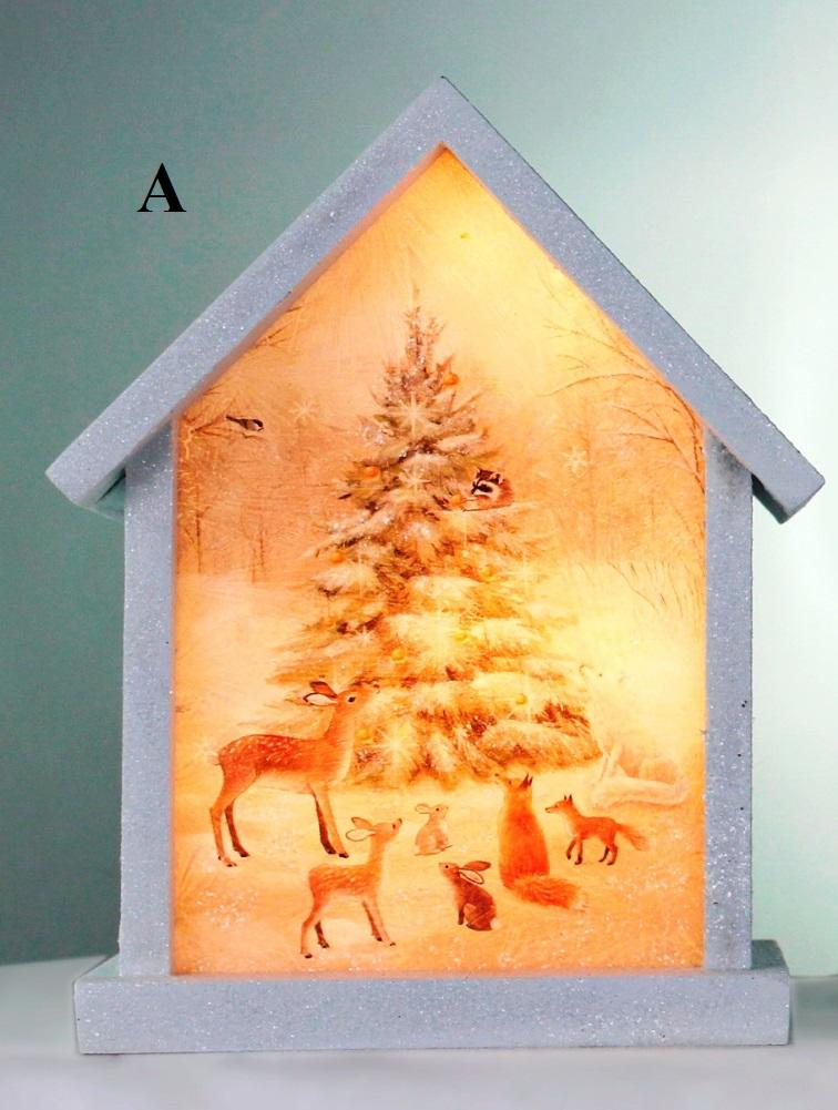 Stony Creek Soft Winter Collection Lighted Wood & Glass Birdhouse, Choice of Style