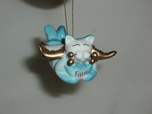 Amy Lacombe Whimsiclay Faith Angel Cat Ornament