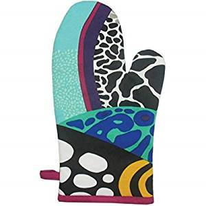 Blue and Black Coral Reef Motif Kitchen Oven Mitt